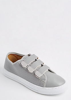 Gray Perforated Sneaker By Qupid