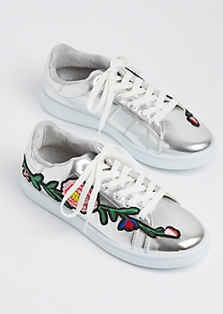 Silver Metallic Embroidered Sneakers By Wild Diva