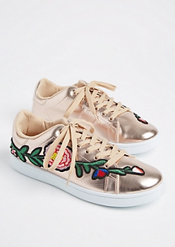 Rose Gold Metallic Embroidered Sneakers By Wild Diva