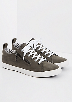 Charcoal Gray Zipped Low Top Sneaker