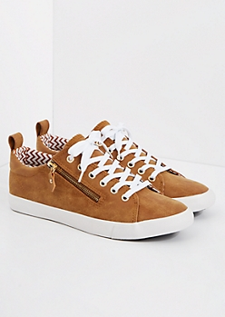 Cognac Zipped Low Top Sneaker