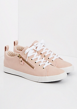 Light Pink Zipped Low Top Sneaker