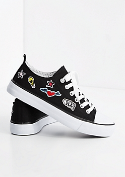 Black Patched Low Top Sneaker