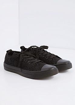 Black Crochet Low Top Sneaker