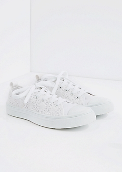White Crochet Low Top Sneaker