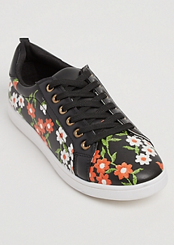 Floral Faux Leather Sneakers