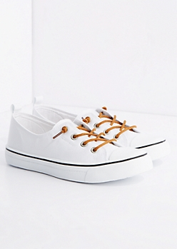 White Canvas Low Top Sneaker