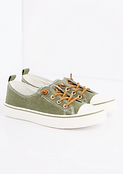 Olive Canvas Low Top Sneaker