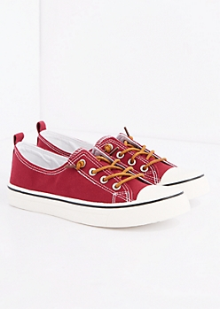 Burgundy Canvas Low Top Sneaker