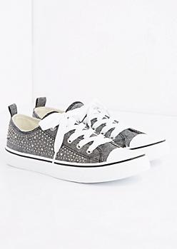 Black Gemstone Low Top Sneaker
