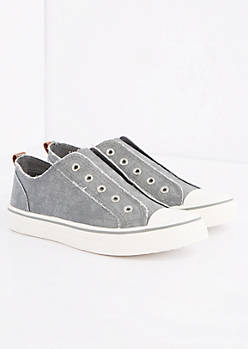 Gray Frayed Laceless Canvas Sneaker