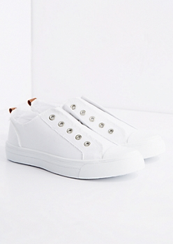 White Frayed Laceless Canvas Sneaker