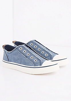 Blue Frayed Laceless Canvas Sneaker
