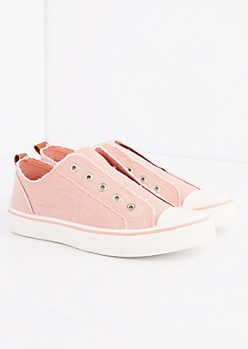 Light Pink Frayed Laceless Canvas Sneaker