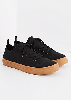 Black Gum Bottom Low Top Sneakers