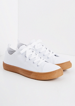 White Gum Bottom Low Top Sneakers