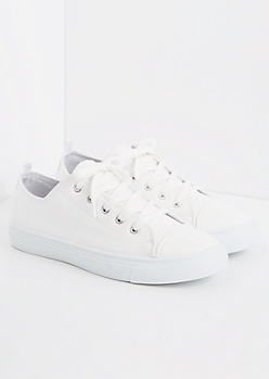 White Faux Leather Low Top Sneaker
