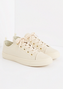 Nude Faux Leather Low Top Sneaker