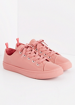 Dark Pink Faux Leather Low Top Sneaker