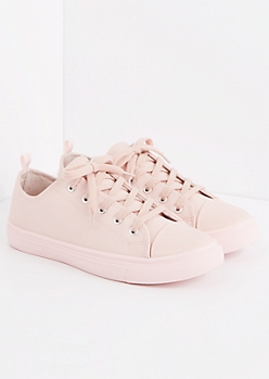 Light Pink Faux Leather Low Top Sneaker
