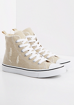 Taupe Distressed High Top Sneaker