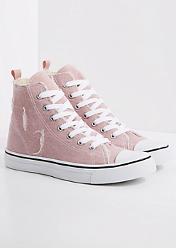 Pink Distressed High Top Sneaker