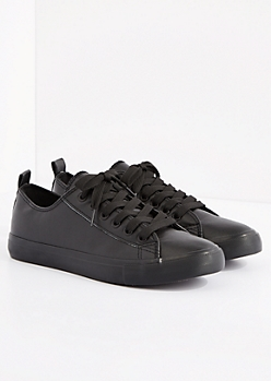 Black Vegan Leather Low Top Sneaker by EpicStep