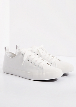 White Vegan Leather Low Top Sneaker by EpicStep