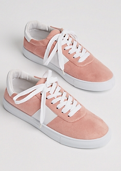 Pink Faux Suede Striped Sneakers