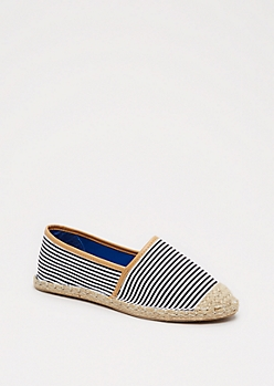 Black Striped Espadrille Flat By Qupid®