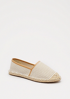 Taupe Striped Espadrille Flat By Qupid®