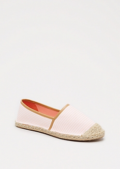 Peach Striped Espadrille Flat By Qupid®