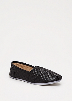 Black Quilted Retro Flat by Qupid®