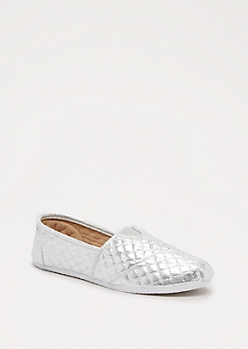 Silver Quilted Retro Flat by Qupid®
