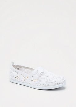 White Crochet Retro Flat
