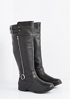 Black Buckled Riding Boot - Wide Width