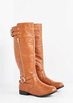 Cognac Buckled Riding Boot - Wide Width