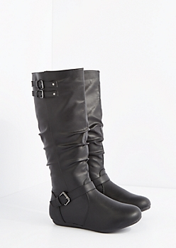 Black Buckled & Scrunched Riding Boot - Wide Width