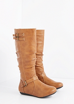 Cognac Buckled & Scrunched Riding Boot - Wide Width