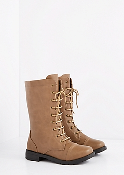 Taupe Metallic Laced Combat Boot - Wide Width