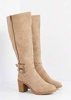 Taupe Microsuede Wrapped Buckle Boot - Wide Width