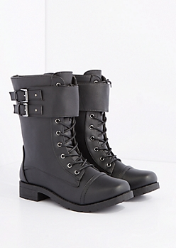 Black Double Buckle Strap Combat Boots - Wide Width