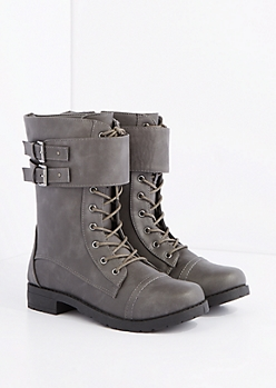 Gray Double Buckle Strap Combat Boots - Wide Width