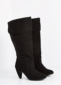 Black Heeled Knee High Boot - Wide Width