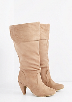 Taupe Heeled Knee High Boot - Wide Width
