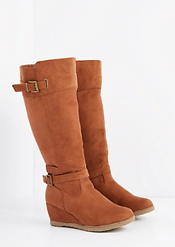 Buckled Wedge Heel Knee High Boot - Wide Width