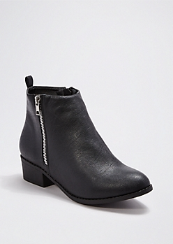 Black Faux Leather Zipped Bootie