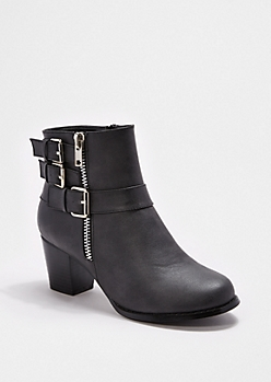 Buckled Faux Leather Bootie