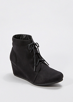 Black Lace-Up Wedge Bootie