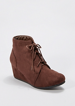 Brown Lace-Up Wedge Bootie